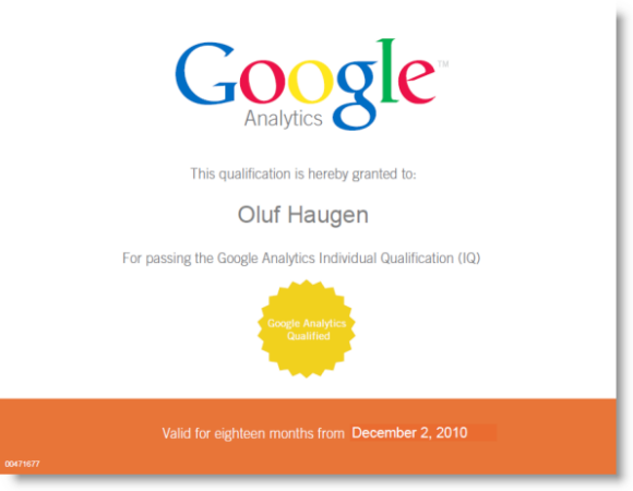 Google Analytics Individual Qualification (GAIQ)