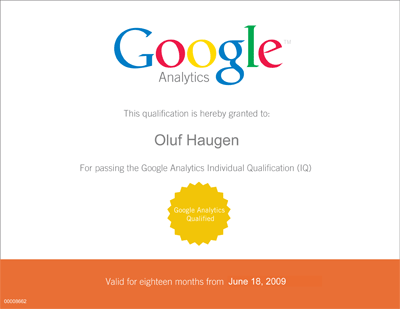 Google Analytics Individual Qualification - Diplom Oluf Haugen